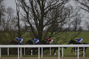 Paul Hanagan riding Taqdeer (L) on their way to winning The Play The £2.25 Million Scoop6 Today Maiden Stakes at Chelmsford racecourse on April 16, 2016 in Chelmsford, England.