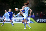 Jill Scott of Manchester City controls the ball in the air under pressure from Katie Chapman of Chelsea during the SSE Women's FA Cup Semi-final match between Chelsea Ladies FC v Manchester City Women at Wheatsheaf Park on April 17, 2016 in Staines, England.