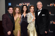 "(L-R) Jarrod Spector, Micaela Diamond, Stephanie J. Block, Teal Wicks, and Rick Elice pose at ""The Cher Show"" Broadway Opening Night - After Party at Pier 60 on December 03, 2018 in New York City."