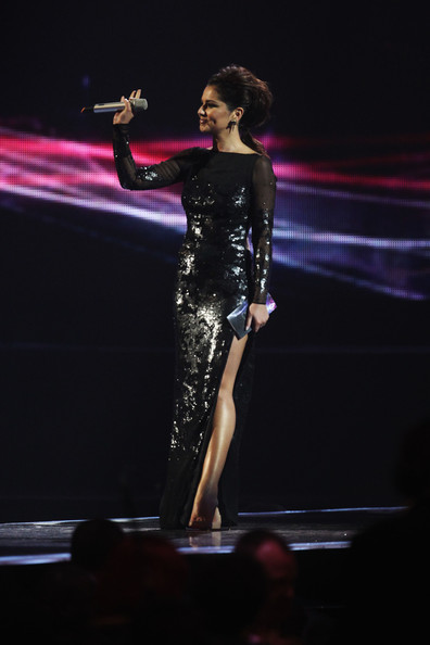 Cheryl Cole (UK TABLOID NEWSPAPERS OUT) Cheryl Cole onstage at The Brit Awards 2011 held at The O2 Arena on February 15, 2011 in London, England.