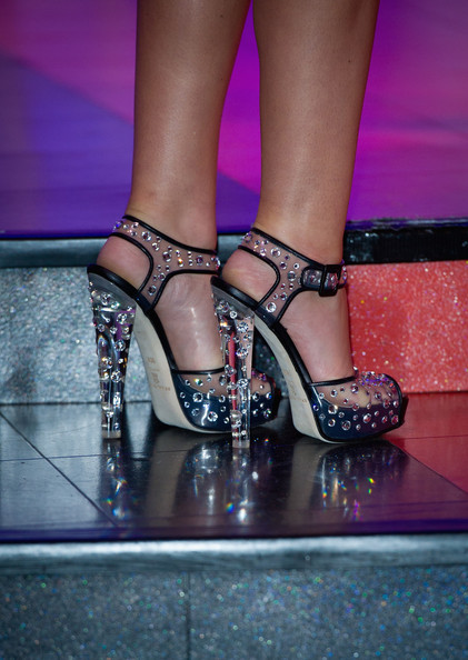 Cheryl Cole Shoes worn by Cheryl Cole, attending a photocall as her waxwork figure is unveiled at Madame Tussauds on October 20, 2010 in London, England.