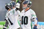 Matt Danowski #40 of the Chesapeake Bayhawks celebrates with Joe Walters #1 after Danowski scored a goal in the fourth quarter to give Chesapeake their first lead over the Ohio Machine on June 20, 2015 at Selby Stadium in Delaware, Ohio. Chesapeake defeated Ohio 12-11 in overtime.