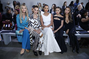 (L-R) Ashley Haas, Mari Fonseca, Lais Ribeiro, Jamie Chung and Brooks Nader  attend the Chiara Boni front row during New York Fashion Week: The Shows at Gallery II at Spring Studios on February 08, 2020 in New York City.