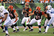 Jason Campbell #17 of the Cincinnati Bengals drops back to pass against the Indianapolis Colts during the second quarter at Paul Brown Stadium on August 28, 2014 in Cincinnati, Ohio.