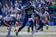 Tight end Jimmy Graham #88 of the Seattle Seahawks rushes the ball against the Chicago Bears at CenturyLink Field on September 27, 2015 in Seattle, Washington.