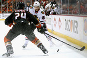Patrick Kane #88 of the Chicago Blackhawks tries to get the puck past Simon Despres #24 of the Anaheim Ducks in the second period of Game One of the Western Conference Finals during the 2015 NHL Stanley Cup Playoffs at Honda Center on May 17, 2015 in Anaheim, California.