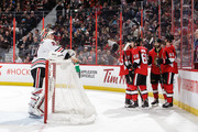 Derick Brassard #19 of the Ottawa Senators celebrates his second period goal against the Chicago Blackhawks with teammates Mike Hoffman #68, Erik Karlsson #65 and Mark Stone #61 at Canadian Tire Centre on January 9, 2018 in Ottawa, Ontario, Canada.