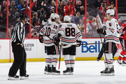 Patrick Sharp #10 of the Chicago Blackhawks celebrates his second period goal against the Ottawa Senators with teammates Patrick Kane #88 and Connor Murphy #5 at Canadian Tire Centre on January 9, 2018 in Ottawa, Ontario, Canada.
