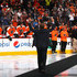Kimmo Timonen Photos - Former Philadelphia Flyer Kimmo Timonen is honored prior to the game between the Flyers and the Chicago Blackhawks prior to their game at the Wells Fargo Center on October 14, 2015 in Philadelphia, Pennsylvania. - Chicago Blackhawks v Philadelphia Flyers
