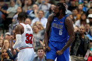 DeAndre Jordan #6 of the Dallas Mavericks reacts after scoring against Kris Dunn #32 of the Chicago Bulls in the third quarter at American Airlines Center on October 22, 2018 in Dallas, Texas. NOTE TO USER: User expressly acknowledges and agrees that, by downloading and or using this photograph, User is consenting to the terms and conditions of the Getty Images License Agreement.