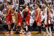 Joakim Noah #13 (L) Derrick Rose #1 (2nd L), Carlos Boozer #5 (C) and Kyle Korver #26 of the Chicago Bulls get set for an inbounds play against LeBron James #6 (3rd L) and Mike Miller #13 of the Miami Heat in Game Four of the Eastern Conference Finals during the 2011 NBA Playoffs on May 24, 2011 at American Airlines Arena in Miami, Florida. The Heat won 101-93 in overtime. NOTE TO USER: User expressly acknowledges and agrees that, by downloading and or using this photograph, User is consenting to the terms and conditions of the Getty Images License Agreement.
