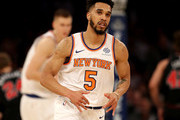 Courtney Lee #5 of the New York Knicks celebrates his three point shot in the first half against the Chicago Bulls at Madison Square Garden on January 10, 2018 in New York City. NOTE TO USER: User expressly acknowledges and agrees that, by downloading and or using this Photograph, user is consenting to the terms and conditions of the Getty Images License Agreement