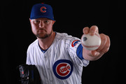 Jon Lester #34 of the Chicago Cubs poses during Chicago Cubs Photo Day on February 20, 2018 in Mesa, Arizona.
