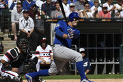 Anthony Rizzo #44 of the Chicago Cubs hits a one-run double against the Chicago White Sox during the first inning on September 23, 2018 at Guaranteed Rate Field  in Chicago, Illinois.