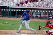 Anthony Rizzo #44 of the Chicago Cubs hits a solo home run during the sixth inning of the game against the Cincinnati Reds at Great American Ball Park on August 29, 2020 in Cincinnati, Ohio.