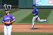 Anthony Rizzo #44 of the Chicago Cubs rounds the bases after hitting a solo home run off of Tyler Anderson #44 of the Colorado Rockies during the third inning of a spring training game at Salt River Fields at Talking Stick on March 5, 2018 in Scottsdale, Arizona.