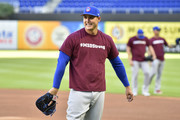 Anthony Rizzo #44 of the Chicago Cubs wears a #MSDStrong t-shirt during batting practice before the game against the Miami Marlins at Marlins Park on March 30, 2018 in Miami, Florida.