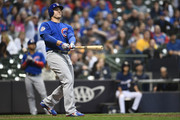 Anthony Rizzo #44 of the Chicago Cubs hits a home run against the Milwaukee Brewers during the 11th inning at Miller Park on June 11, 2018 in Milwaukee, Wisconsin.