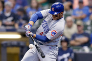 Anthony Rizzo #44 of the Chicago Cubs hits a single in the third inning against the Milwaukee Brewers at Miller Park on September 3, 2018 in Milwaukee, Wisconsin.
