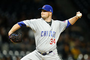 Jon Lester #34 of the Chicago Cubs pitches in the first inning against the Pittsburgh Pirates at PNC Park on September 7, 2017 in Pittsburgh, Pennsylvania.