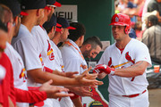 Matt Holliday #7 of the St. Louis Cardinals is congratulated by teammates after hitting  a solo home run in the fourth inning against the Chicago Cubs at Busch Stadium on August 31, 2014 in St. Louis, Missouri.