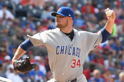 Jon Lester #34 of the Chicago Cubs pitches in the first inning during a baseball game against the Washington Nationals at Nationals Park on June 29, 2017 in Washington, DC.