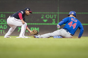 Anthony Rizzo #44 of the Chicago Cubs is tagged out at second by Adrian Sanchez #5 of the Washington Nationals during the first inning at Nationals Park on September 13, 2018 in Washington, DC.