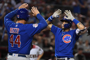 Javier Baez #9 of the Chicago Cubs celebrates with teammate Anthony Rizzo #44 after hitting a two run home run during the sixth inning against the Arizona Diamondbacks at Chase Field on September 17, 2018 in Phoenix, Arizona.
