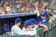 Cole Hamels #35 of the Chicago Cubs waves to the crowd prior to the start of the fourth inning against the Philadelphia Phillies at Citizens Bank Park on August 31, 2018 in Philadelphia, Pennsylvania. The Phillies defeated the Cubs 2-1.