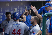 Anthony Rizzo #44 of the Chicago Cubs high fives his teammates after scoring a run in the top of the sixth inning against the Philadelphia Phillies at Citizens Bank Park on September 2, 2018 in Philadelphia, Pennsylvania.
