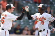 Adam Jones #10 of the Baltimore Orioles celebrates hitting a solo home run in the seventh inning with Trey Mancini #16 during a baseball game against the Chicago White Sox at Oriole Park at Camden Yards on September 16, 2018 in Baltimore, Maryland.