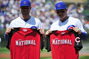 Kris Bryant (L) of the Chicago Cubs and Anthony Rizzo #44 pose for a photo with their All Star jersey's before the game against the Chicago White Sox on July 10, 2015 at  Wrigley Field in Chicago, Illinois.
