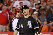 Justin Morneau #44 of the Chicago White Sox strikes out during the ninth inning of a baseball game against the Los Angeles Angels of Anaheim  at Angel Stadium of Anaheim on July 16, 2016 in Anaheim, California.