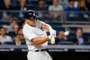 Matt Holliday #17 of the New York Yankees connects on a third-inning, three-run home run against the Chicago White Sox at Yankee Stadium on April 17, 2017 in the Bronx borough of New York City.