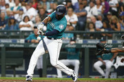 Denard Span #4 of the Seattle Mariners hits a single in the fourth inning off of James Shields #33 of the Chicago White Sox at Safeco Field on July 20, 2018 in Seattle, Washington.