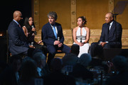 (L-R) Bernie Williams, Allyson Felix, Dennis Walto,  Katelyn Ohashi and John Starks speak on stage during the Children's Health Fund Annual Benefit 2019 on June 05, 2019 in New York City.