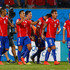 Alexis Sanchez Photos - Alexis Sanchez of Chile (2nd L) celebrates scoring his teams first goal during the 2014 FIFA World Cup Brazil Group B match between Chile and Australia at Arena Pantanal on June 13, 2014 in Cuiaba, Brazil. - Chile v Australia: Group B