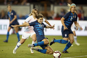 Tobin Heath of the United States scores a goal against Chile during their match at Avaya Stadium on September 4, 2018 in San Jose, California.
