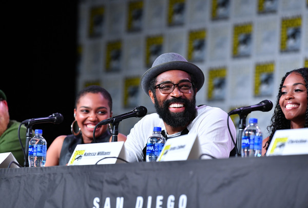 2019 Comic-Con International - 'Black Lightning' Special Video Presentation And Q&A [event,moustache,facial hair,crowd,recreation,competition event,spokesperson,games,beard,nafessa williams,cress williams,china anne mcclain,q a,l-r,san diego convention center,california,special video presentation,comic-con international]