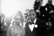 """Image has been converted to black and white.) Beyonce (L) and JAY Z attend the """"China: Through The Looking Glass"""" Costume Institute Benefit Gala at the Metropolitan Museum of Art on May 4, 2015 in New York City."""