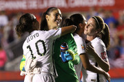 Hope Solo #1 of the United States celebrates with Carli Lloyd #10 after defeating China 1-0 in the FIFA Women's World Cup 2015 Quarter Final match at Lansdowne Stadium on June 26, 2015 in Ottawa, Canada.