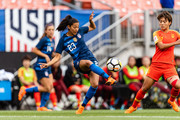 Christen Press #23 of the United States passes during the first half against China at FirstEnergy Stadium on June 12, 2018 in Cleveland, Ohio.