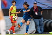 Christen Press #23 of the United States sets up Megan Rapinoe #15 for a goal during the first half against China at FirstEnergy Stadium on June 12, 2018 in Cleveland, Ohio.