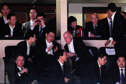 Chinese Vice President Xi Jinping (2nd L), California Gov. Jerry Brown (2nd R), Los Angeles Mayor Antonio Villaraigosa (R) and DreamWorks Animation CEO Jeffrey Katzenberg (2nd Row, R) attend the Los Angeles Lakers and Phoenix Suns NBA basketball game at Staples Center on February 17, 2012 in Los Angeles, California. Xi wrapped up his five-day visit to the U.S. by attending the Lakers game. NOTE TO USER: User expressly acknowledges and agrees that, by downloading and/or using this Photograph, user is consenting to the terms and conditions of the Getty Images License Agreement.