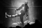 Image has been converted to black and white.)  Chris Brown performs at Staples Center on October 11, 2019 in Los Angeles, California.