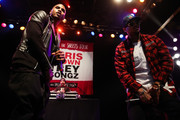 Singers Trey Songz (L) and Chris Brown attend a press conference at House of Blues Sunset Strip on November 10, 2014 in West Hollywood, California.
