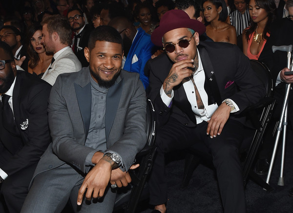 The 57th Annual GRAMMY Awards - Backstage [event,suit,formal wear,bodyguard,tuxedo,photography,premiere,eyewear,audience,california,los angeles,staples center,57th annual grammy awards,the 57th annual grammy awards,audience,chris brown,recording artists usher]