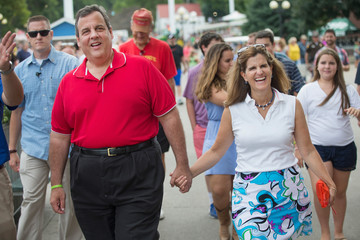 Chris Christie Mary Pat Foster Presidential Candidates Campaign in Iowa During State Fair