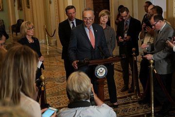 Chris Murphy Chuck Schumer Senate Lawmakers Address The Media After Their Weekly Policy Luncheons