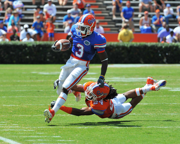 Chris Rainey Running back Chris Rainey #3 of the Florida Gators runs upfield during the Orange and Blue spring football game April 9, 2010 Ben Hill Griffin Stadium in Gainesville, Florida.